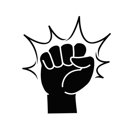 Fist label or logo. Punch, opposition, hitting, fight club icon. Vector illustration