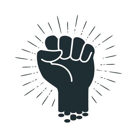 男性 clenched 拳、ロゴやラベル。力、力、強度のアイコン。ベクトル図  イラスト・ベクター素材