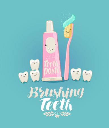 Brushing teeth, banner. Tooth, toothpaste, toothbrush, dentistry, dental clinic concept. Cartoon vector illustration
