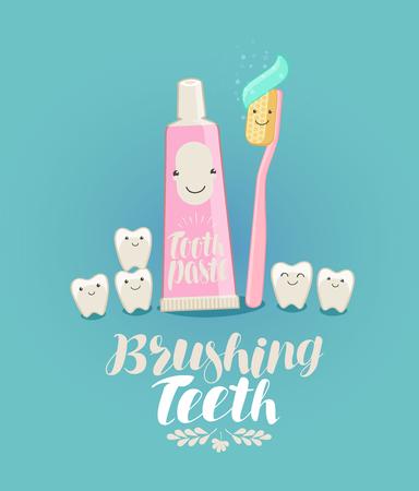 Tandenpoetsen, banner. Tand, tandpasta, tandenborstel, tandheelkunde, tandheelkundige kliniek concept. Cartoon vectorillustratie Stock Illustratie