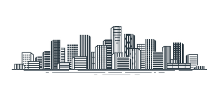 City view. Urban landscape, skyscrapers, building, city landscape concept. Vector illustration Ilustração