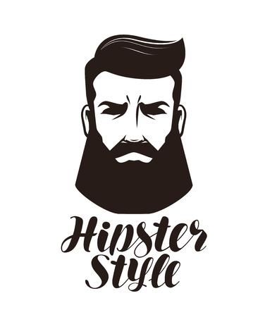 流行に敏感なスタイル。髭の男、ロゴやラベルの肖像画。文字ベクトル図
