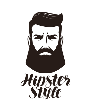 Hipster style. Portrait of bearded man, logo or label. Lettering vector illustration