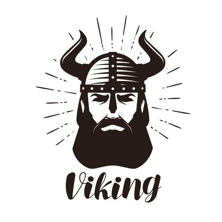 Viking logo or label. Portrait of bearded man in helmet with horns. Vector illustration