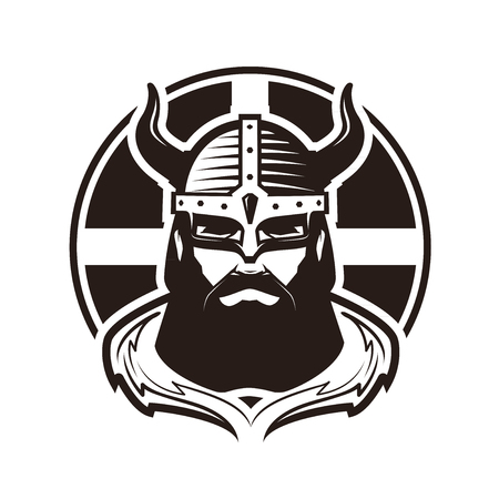 Viking logo or label. Warrior in armor vector illustration