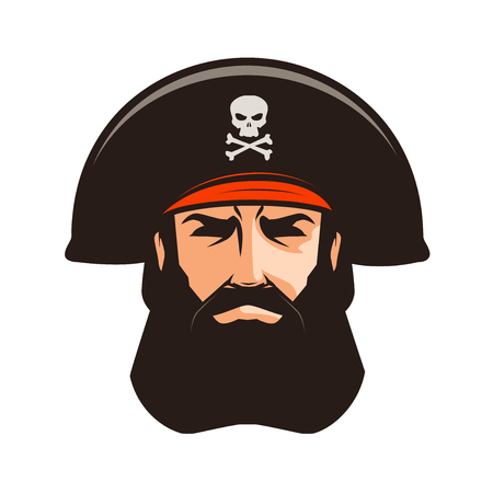 cocked hat: Pirate logo or label. Portrait of bearded man in cocked hat. Cartoon vector illustration
