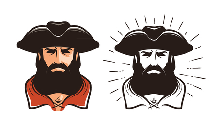 Portrait of bearded man in cocked hat. Cartoon vector illustration