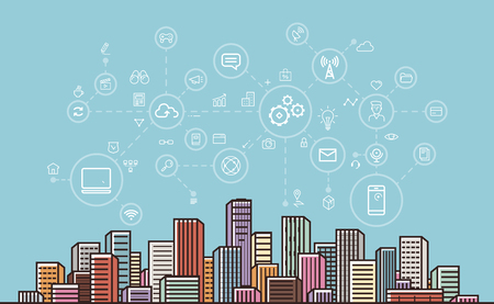 Internet communication, network, digital technology concept. Modern city background. Vector illustration Illustration