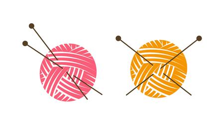 ロゴやラベルをニットします。編み針と毛糸の玉。ベクトル図