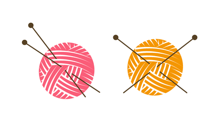 Knit logo or label. Ball of yarn with knitting needles. Vector illustration Illustration