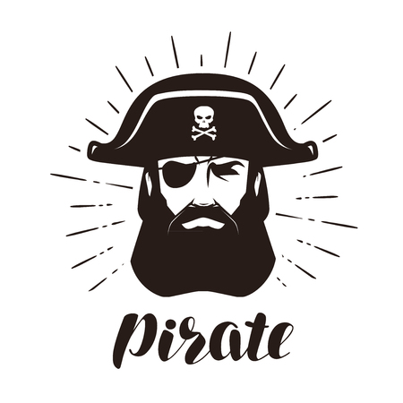 Pirate logo or label. Portrait of bearded one-eyed filibuster in hat. Vector illustration Stock Vector - 86815308