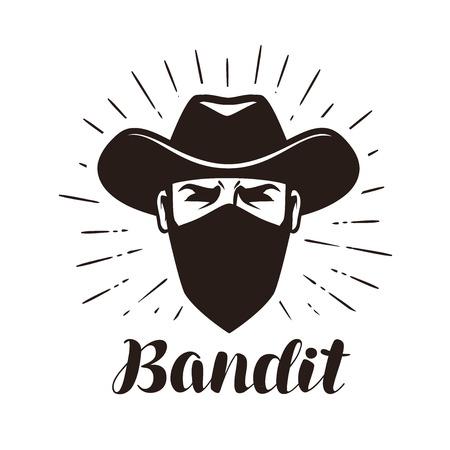 Wütender Verbrecher In Der Maske. Cowboy, Räuber, Bandit Im Hut ...