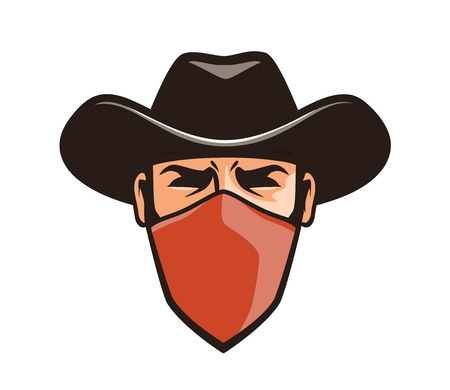 Angry thug in mask. Cowboy, robber, bandit in hat. Cartoon vector illustration