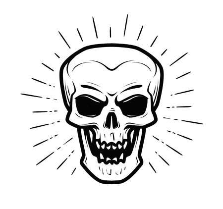 Scary human skull. Jolly Roger, halloween, zombie, skeleton, death symbol. Vector illustration