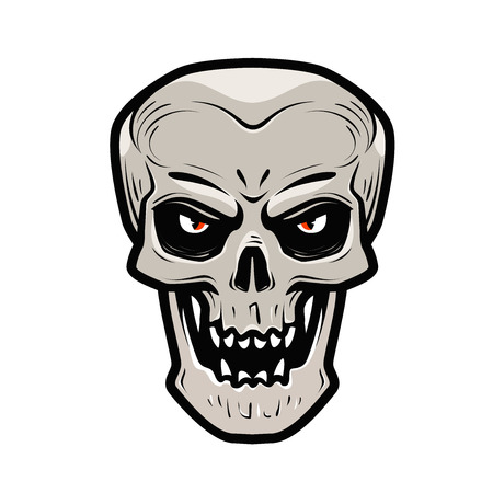 Angry skull. Monster, dead, zombie, halloween, devil symbol. Cartoon vector illustration