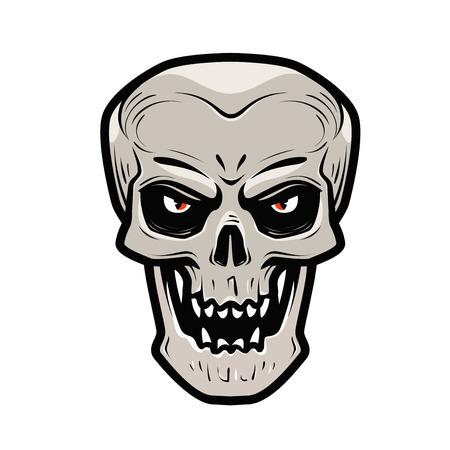 Angry skull. Monster, dead, zombie, halloween, devil symbol. Cartoon vector illustration