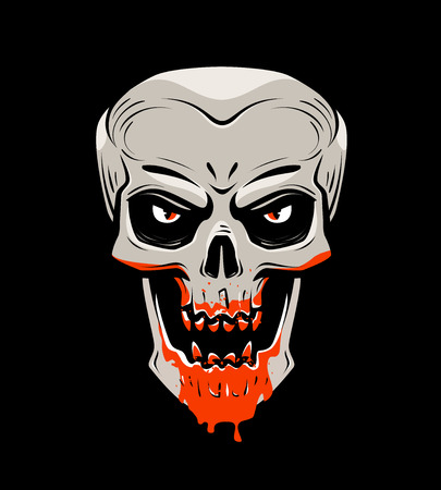 Evil skull and blood. Halloween, zombie, undead, vampire cartoon. Vector illustration