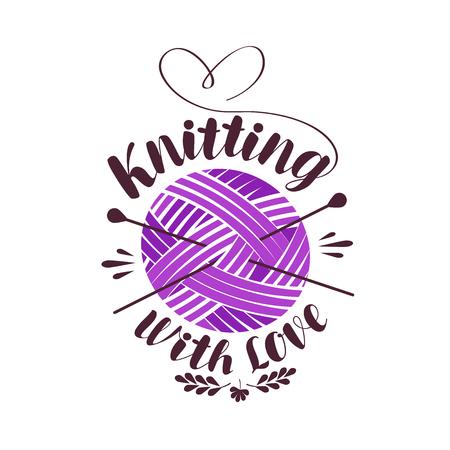 Breien met liefde, lettering. Bal van garen met naalden logo of label. Vector illustratie