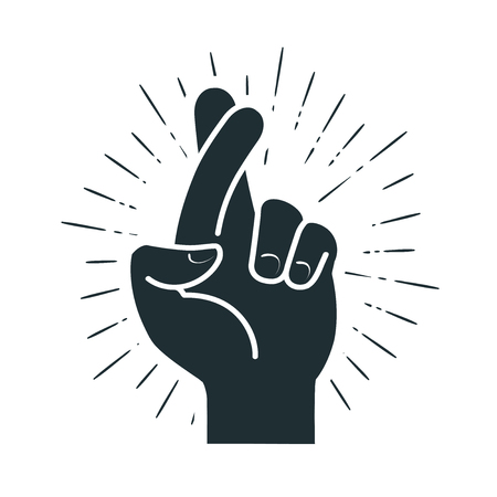 Fingers crossed, hand gesture. Lie, on luck, superstition symbol or icon. Vector illustration  イラスト・ベクター素材