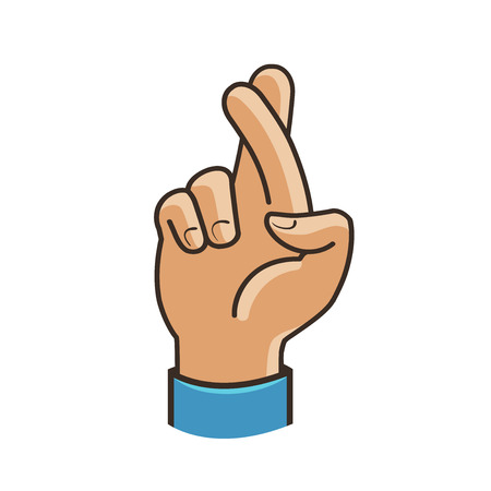 Fingers crossed symbol. Gesture good luck, fortune, lie, deception. Cartoon vector illustration