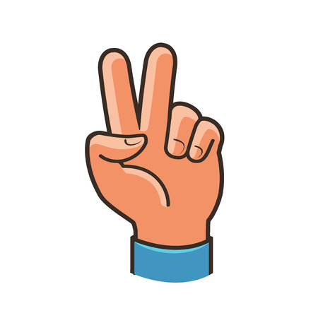 Victory sign, gesture. Two fingers raised up, peace, winning symbol or icon. Cartoon vector illustration