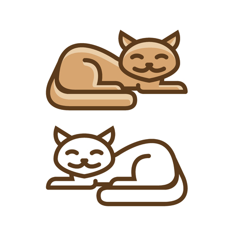 Cute cat, kitty icon or symbol. Pet shop logo. Vector illustration