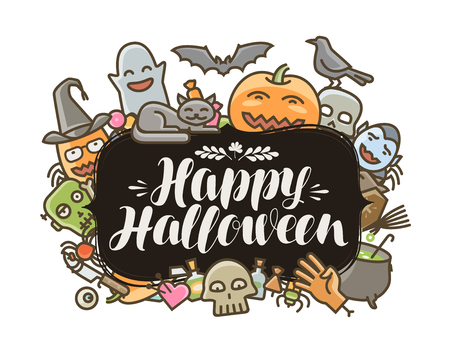 Happy Halloween banner or greeting card. Holiday concept. Lettering vector illustration