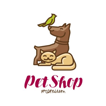 Pet shop label or logo. Animals, parrot, dog, cat icon. Vector illustration Illustration