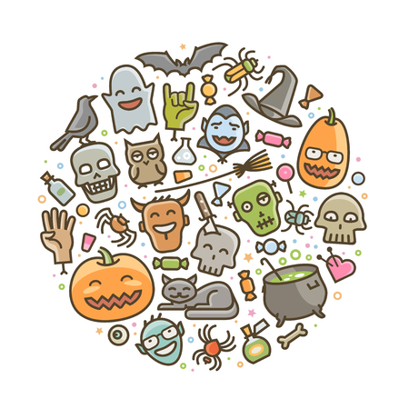 Halloween, set of icons. Holiday symbol. Cartoon vector illustration