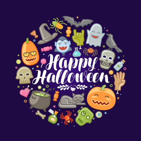 Halloween, concept. Holiday, festival, celebration banner or greeting card. Vector illustration Illustration