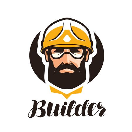 Constructor, logotipo de constructor. Industria, soporte, servicio, reparación, revisión icono o símbolo. Retrato de trabajador en casco