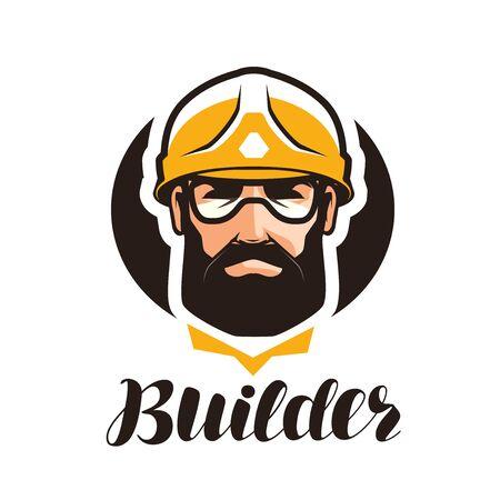 Builder, constructor logo. Industry, support, service, repair, overhaul icon or symbol. Portrait of worker in helmet