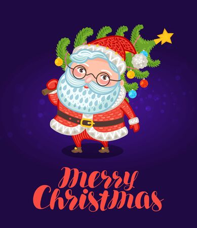 midnight: Merry Christmas, greeting card. Cute Santa Claus carries xmas tree with decorations. Festive vector illustration