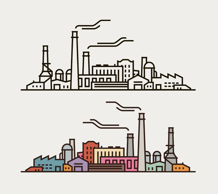 Industry concept. Industrial enterprise, factory, building icon or symbol. Vector illustration Иллюстрация
