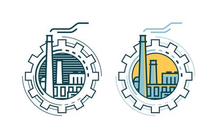 Industry, industrial enterprise, factory logo or label. Vector illustration