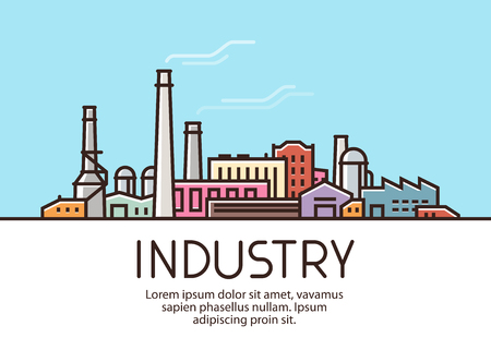 Industry banner. Industrial production, factory building concept. Vector illustration Illustration
