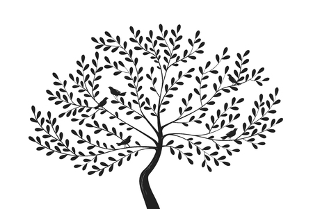 eberesche: Decorative tree with birds on branches. Silhouette vector illustration