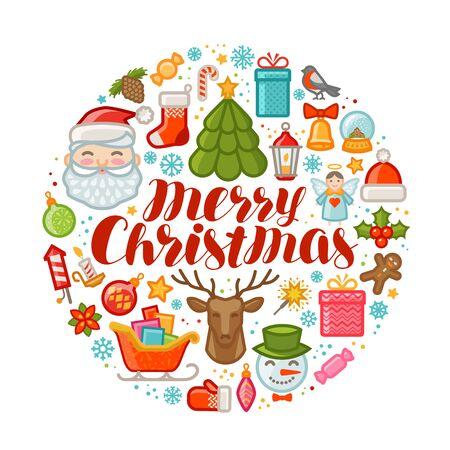 Merry Christmas, greeting card. Xmas concept. Vector illustration