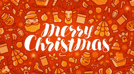 Merry Christmas, xmas greeting card or banner. Holiday concept. Vector illustration Illustration
