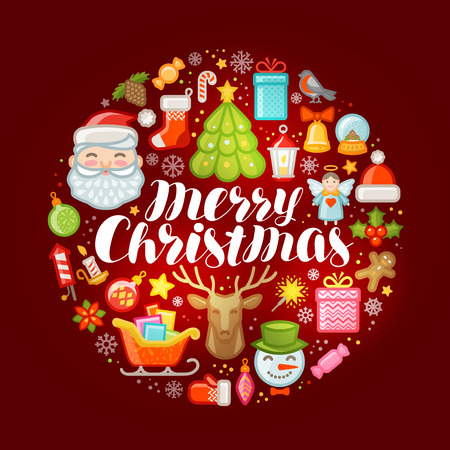 Xmas concept. Merry Christmas, greeting card or banner. Vector illustration