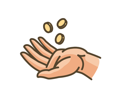 alms: Hand and money or gold coins. Earnings, cash, profit, income icon. Vector illustration