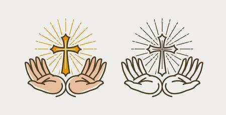 Mani e croce, crocifissione. Dio, bibbia, religione, fede, chiesa, prega simbolo o icona. Illustrazione vettoriale
