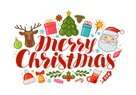 Merry Christmas, greeting card or banner. Xmas, holiday concept. Cartoon vector illustration