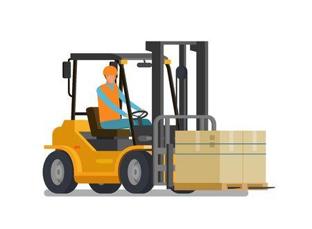 lorries: Forklift, lift truck. Warehouse, logistic, storage concept. Vector illustration
