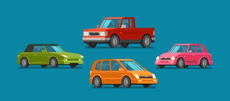 Cars set of icons vector illustration. Illustration