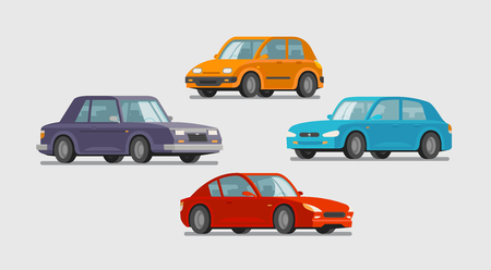 Car set of icons. Vehicle, transport, parking, garage concept. Cartoon vector illustration Stock Photo