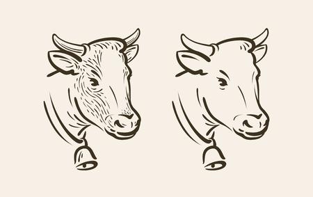 ベルと牛の肖像画。酪農、動物のシンボルまたはアイコン。スケッチのベクトル図 写真素材 - 89025277