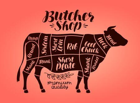 Carnicería, tablas de corte de carne. Carne de vaca, vaca, concepto de carne. Ilustración vectorial