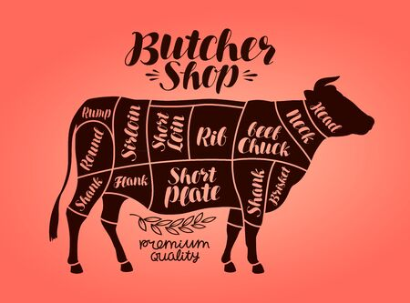 Butcher shop, meat cut charts. Beef, cow, steak concept. Vector illustration