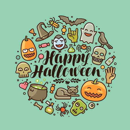 hallow: Happy Halloween, greeting card or banner. Illustration